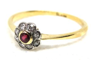 vintage ruby and diamond cluster