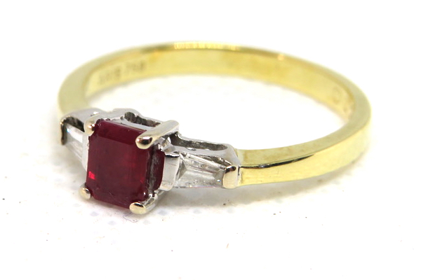 18ct Ruby and Diamond Trilogy Ring