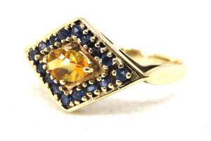 9ct yellow gold vintage citrine and sapphire ring
