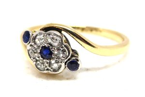 18ct Sapphire and Diamond Cluster Twist Ring