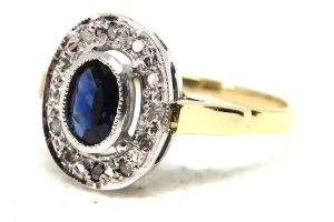 9ct yellow gold vintage sapphire and diamond cluster ring